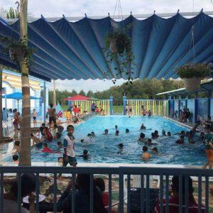 mái xếp bạt xếp đi động dành cho hồ bơi