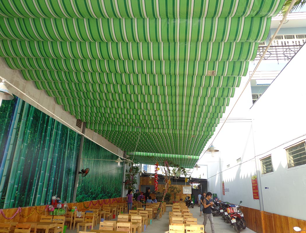 Lắp đặt mái che di động, mái bạt xếp, mái bạt lùa kéo sóng tại TP cam ranh khánh hòa