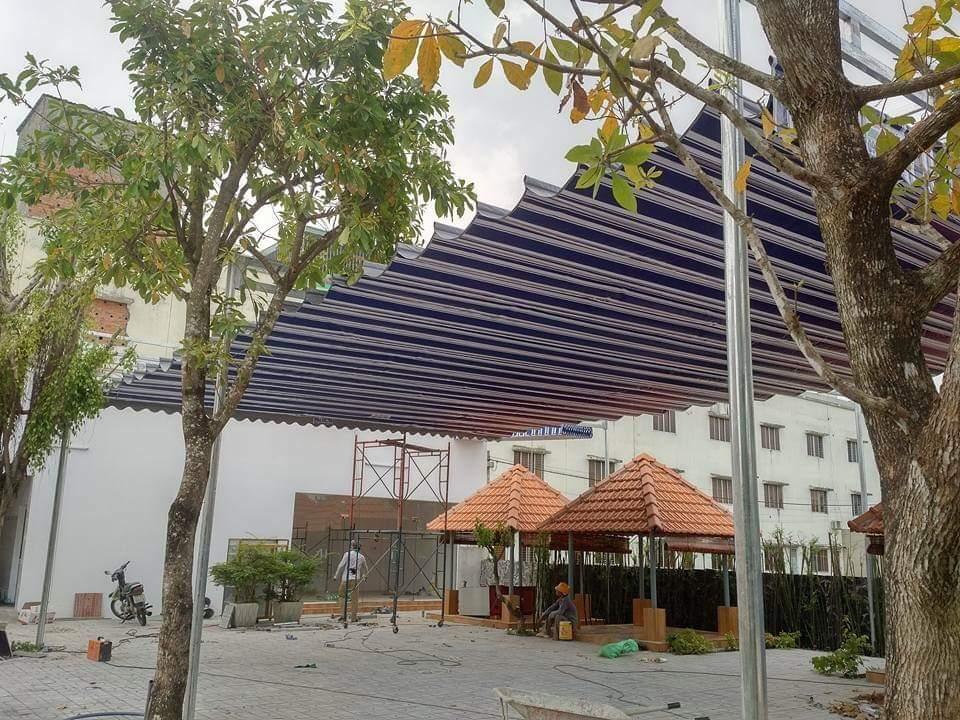 Lắp đặt mái che di động, mái bạt xếp, mái bạt lùa kéo sóng tại TP bạc liêu.