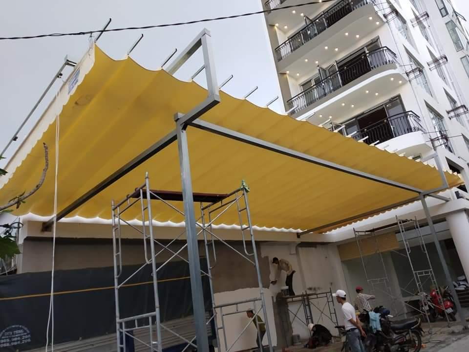 Lắp đặt mái che di động, mái bạt xếp, mái bạt lùa kéo sóng tại tp hải phòng