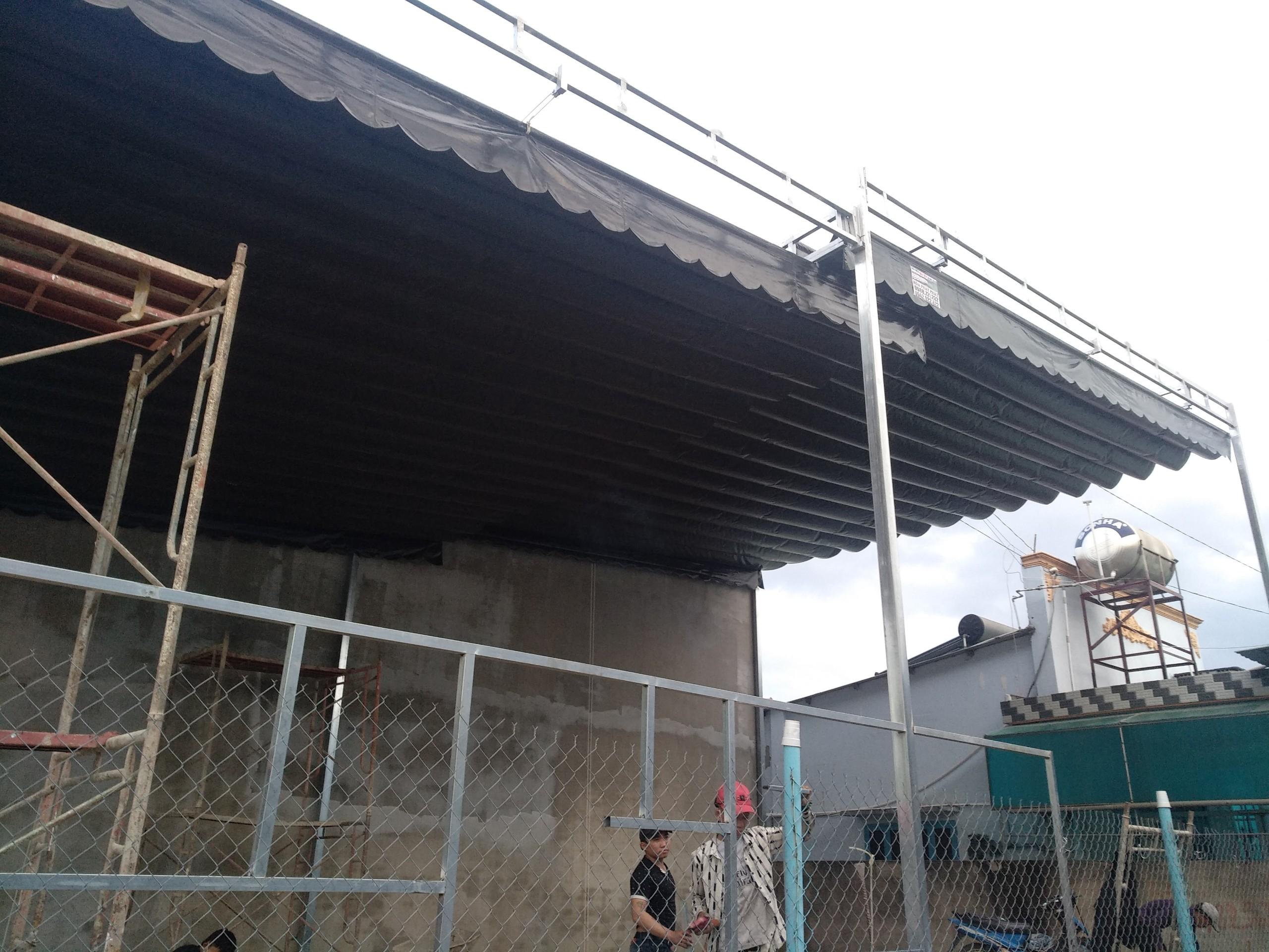 Lắp đặt mái che di động, mái bạt xếp, mái bạt lùa kéo sóng tại TP cao lãnh đồng tháp