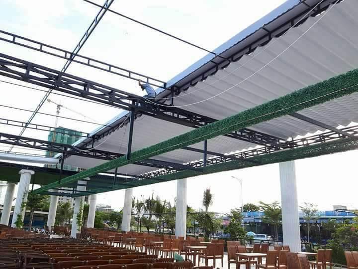 Lắp đặt mái che di động, mái bạt xếp, mái bạt lùa kéo sóng tại TP hạ long quảng ninh