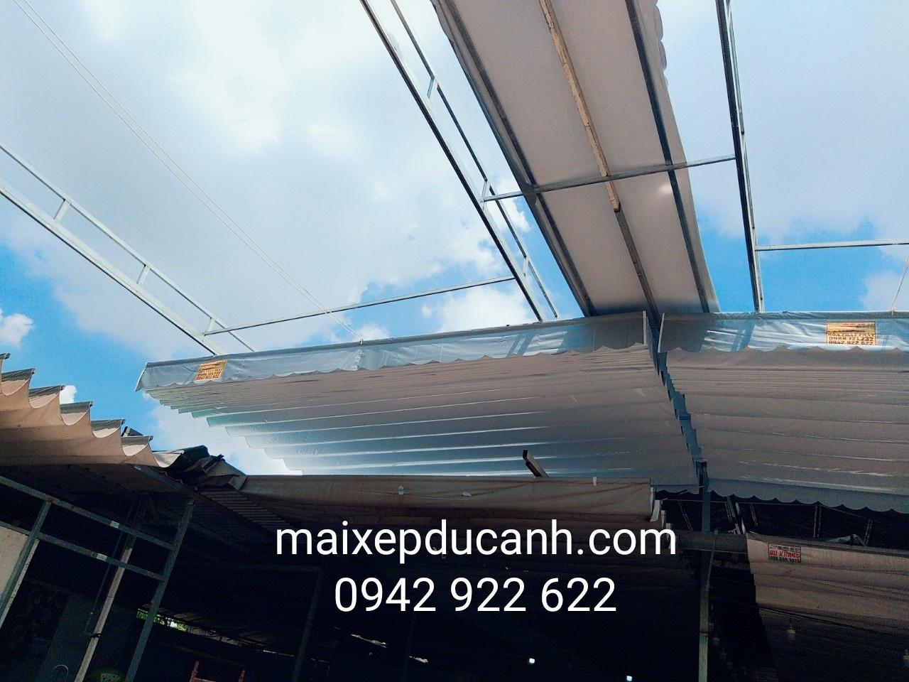 Lắp đặt mái che di động, mái bạt xếp, mái bạt lùa kéo sóng tại TP hà tĩnh