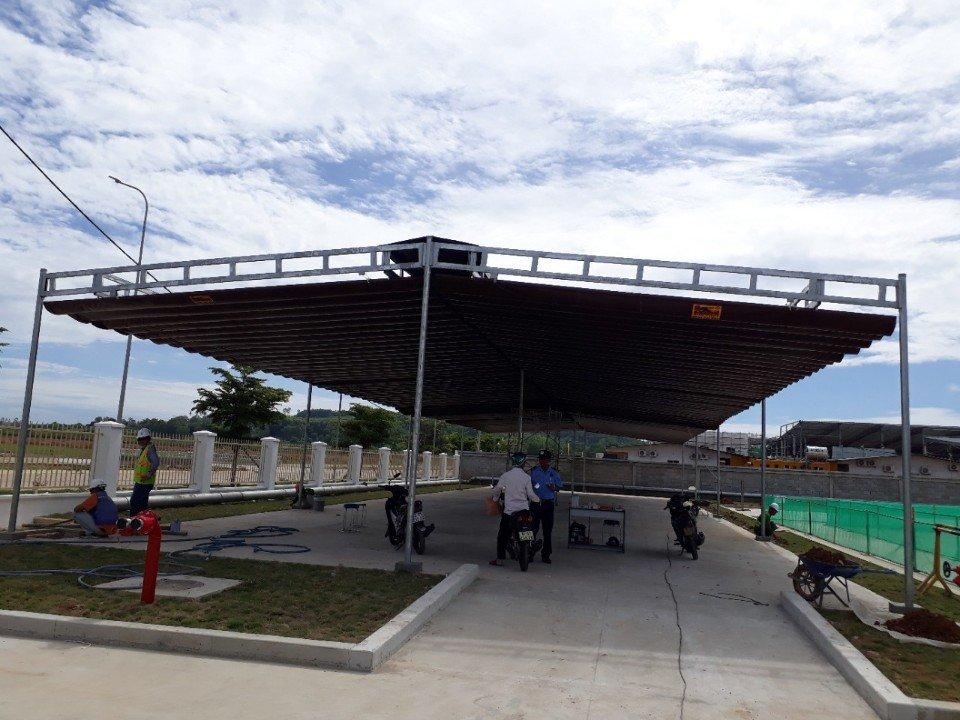 Lắp đặt mái che di động, mái bạt xếp, mái bạt lùa kéo sóng tại TP hải dương