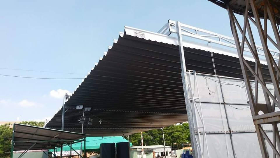 Lắp đặt mái che di động, mái bạt xếp, mái bạt lùa kéo sóng tại huyện nhơn trạch