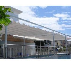 Lắp đặt mái che di động, mái bạt xếp, mái bạt lùa kéo sóng tại quận 2