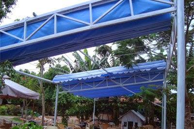 Lắp đặt mái che di động, mái bạt xếp, mái bạt lùa kéo sóng tại thị xã bên cát